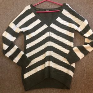 Poof! Green and white striped sweater
